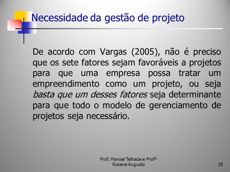 Necessidade da gestão de projeto De acordo com Vargas (2005), não é preciso que os sete fatores sejam favoráveis a projetos para que uma empresa possa