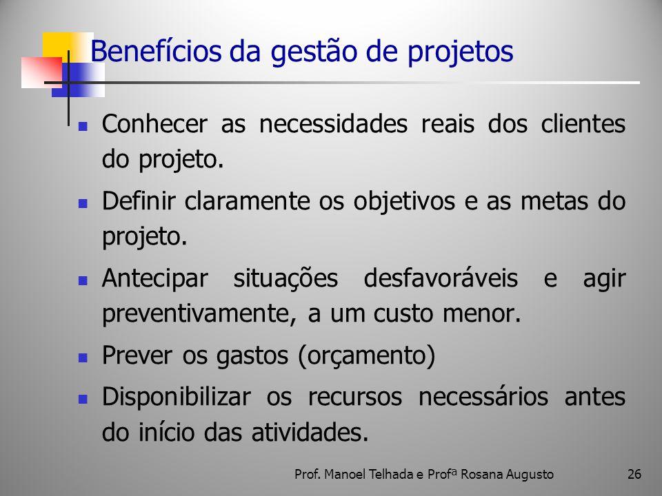 26 Benefícios da gestão de projetos Conhecer as necessidades reais dos clientes do projeto. Definir claramente os objetivos e as metas do projeto. Ant