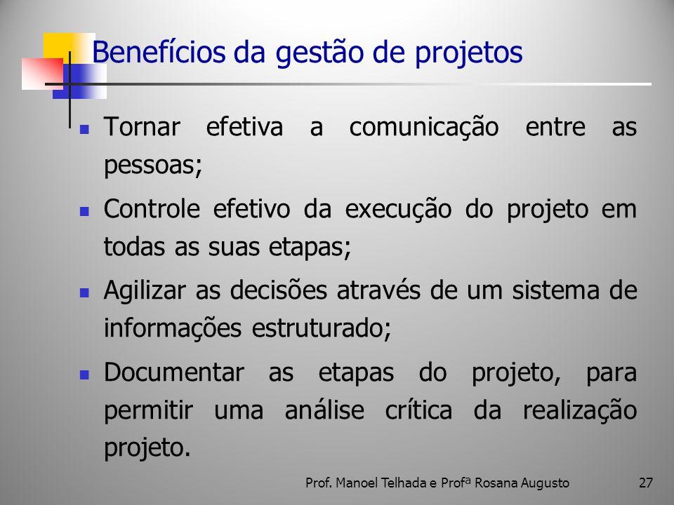 27 Benefícios da gestão de projetos Tornar efetiva a comunicação entre as pessoas; Controle efetivo da execução do projeto em todas as suas etapas; Ag