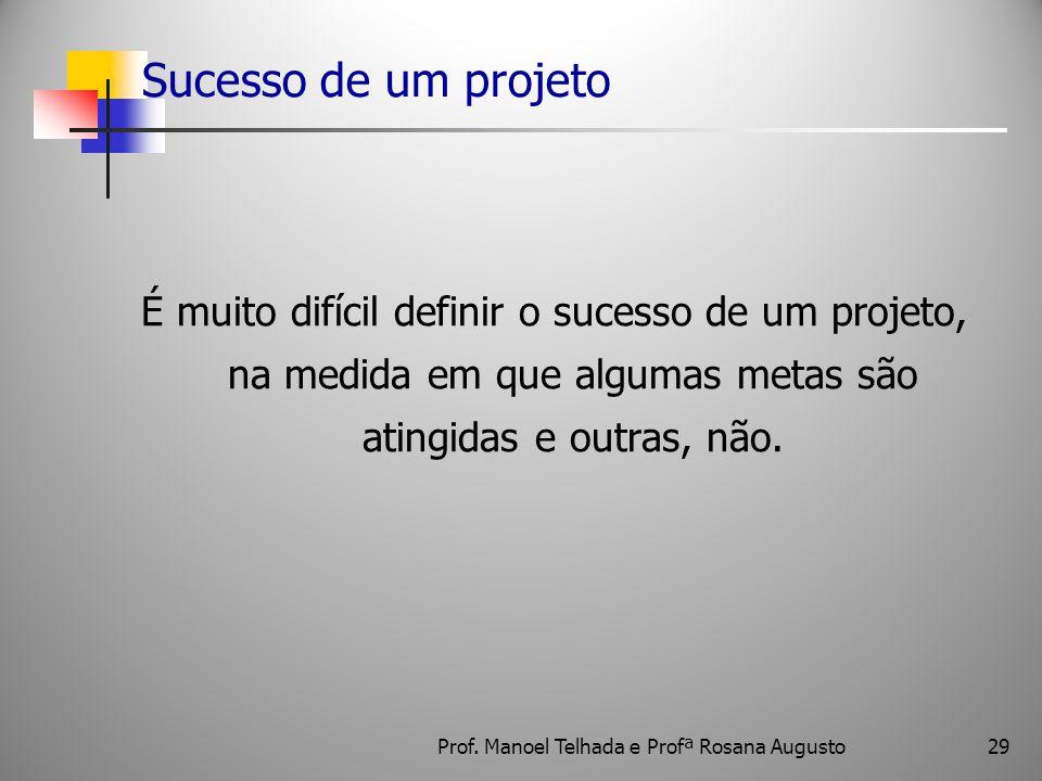 29 Sucesso de um projeto É muito difícil definir o sucesso de um projeto, na medida em que algumas metas são atingidas e outras, não. Prof. Manoel Tel