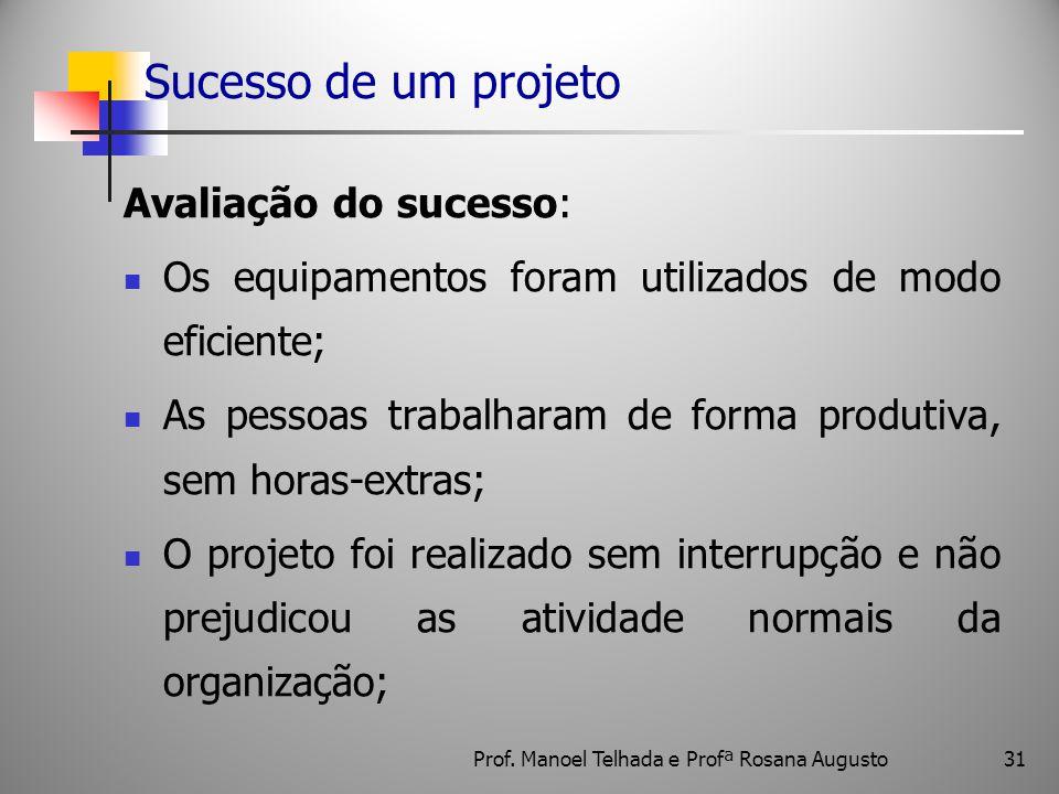 31 Sucesso de um projeto Avaliação do sucesso: Os equipamentos foram utilizados de modo eficiente; As pessoas trabalharam de forma produtiva, sem hora