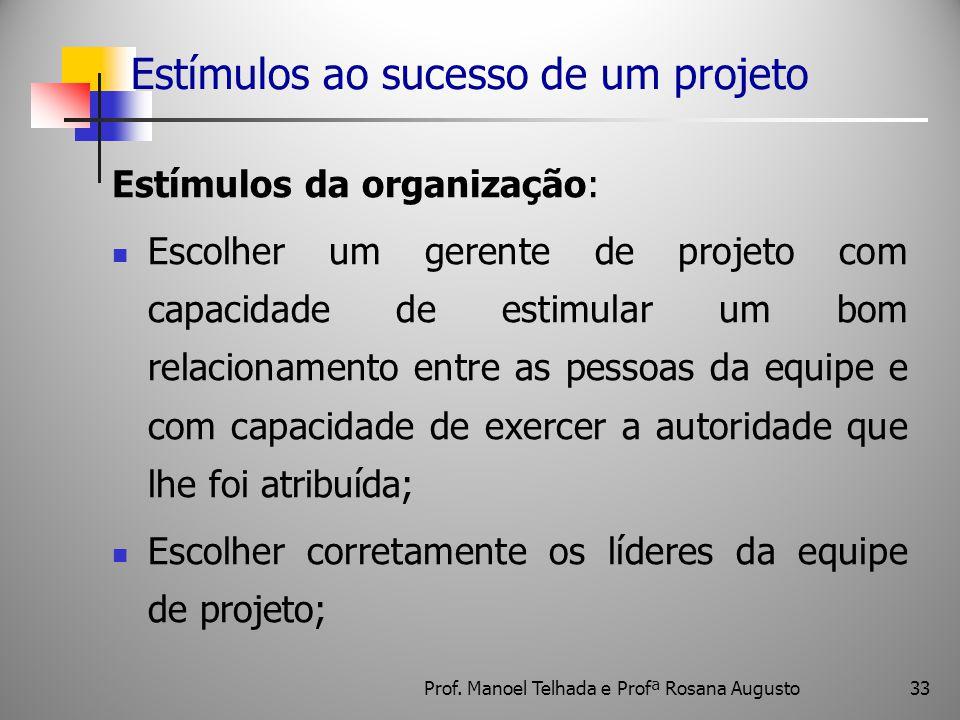 33 Estímulos ao sucesso de um projeto Estímulos da organização: Escolher um gerente de projeto com capacidade de estimular um bom relacionamento entre