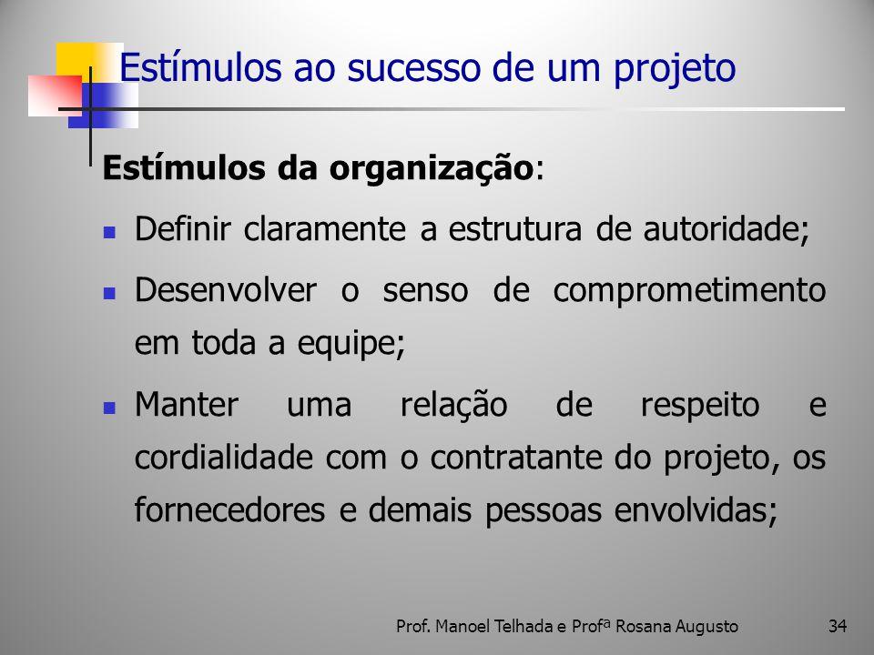 34 Estímulos ao sucesso de um projeto Estímulos da organização: Definir claramente a estrutura de autoridade; Desenvolver o senso de comprometimento e