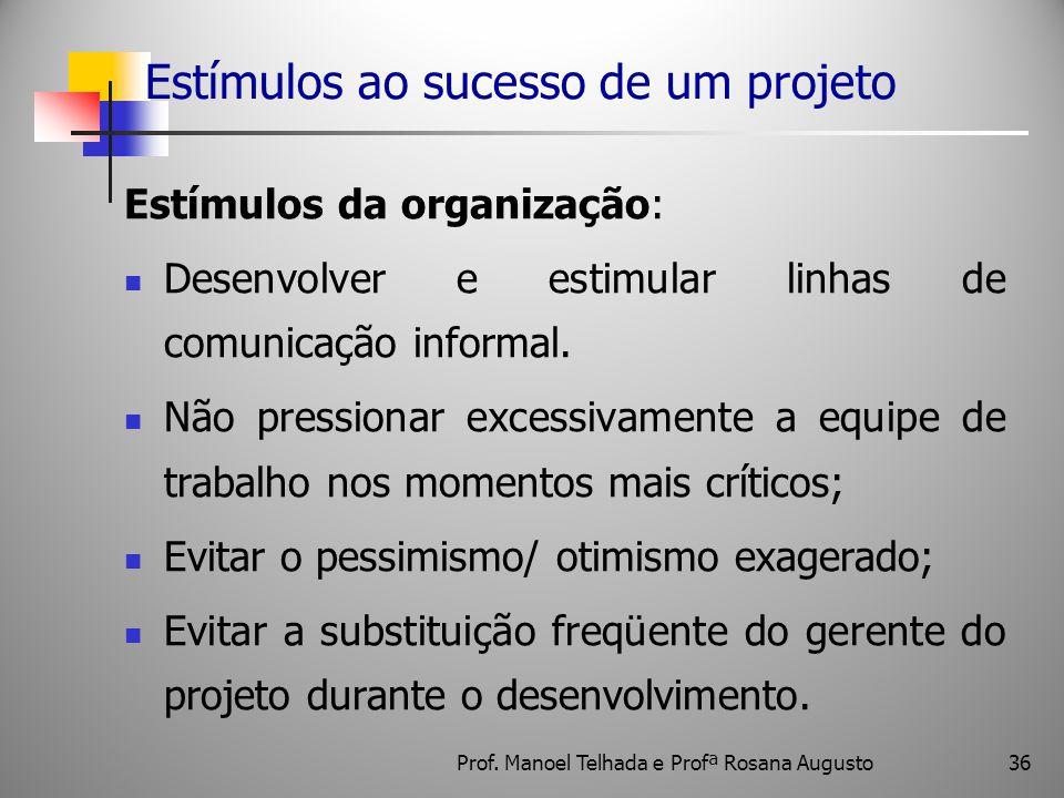 36 Estímulos ao sucesso de um projeto Estímulos da organização: Desenvolver e estimular linhas de comunicação informal. Não pressionar excessivamente