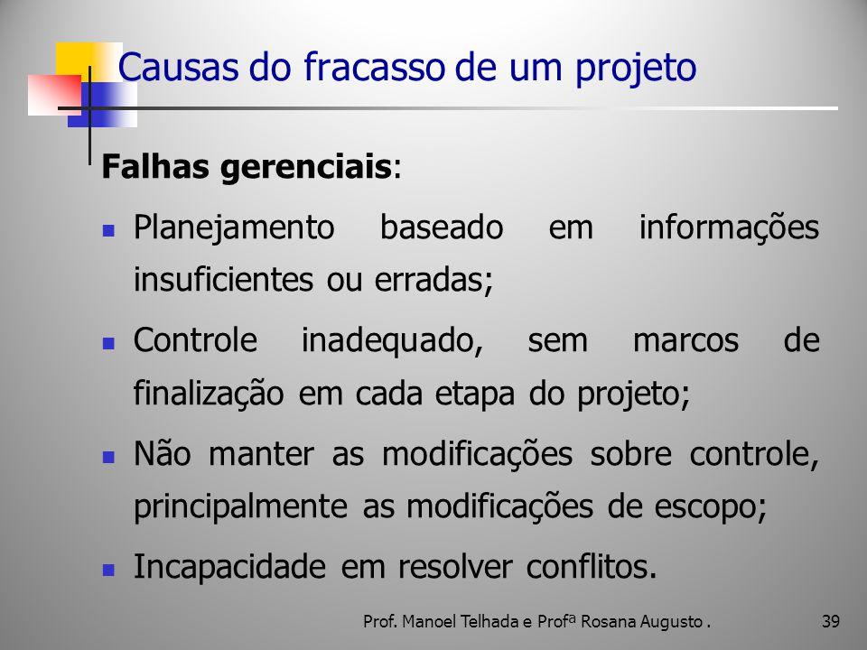 39 Causas do fracasso de um projeto Falhas gerenciais: Planejamento baseado em informações insuficientes ou erradas; Controle inadequado, sem marcos d