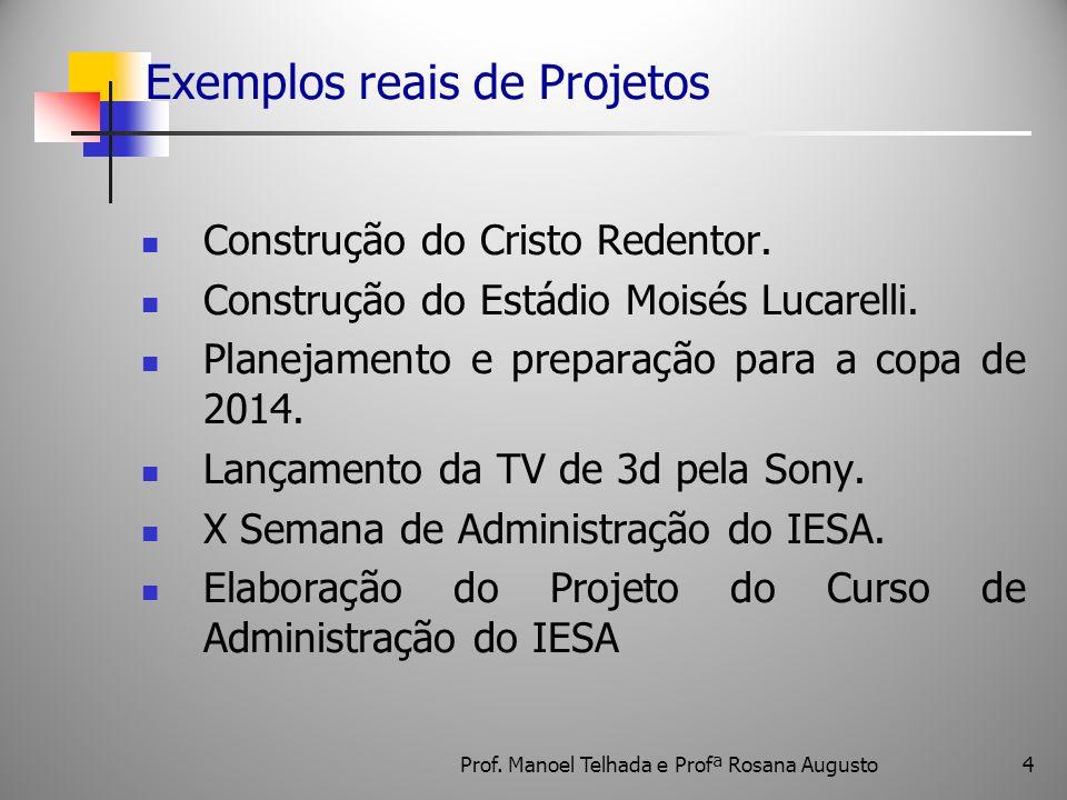 Exemplos reais de Projetos Construção do Cristo Redentor. Construção do Estádio Moisés Lucarelli. Planejamento e preparação para a copa de 2014. Lança