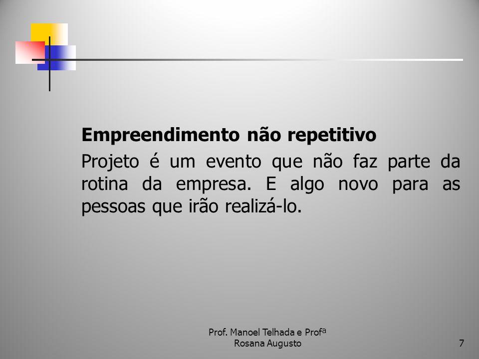 Empreendimento não repetitivo Projeto é um evento que não faz parte da rotina da empresa. E algo novo para as pessoas que irão realizá-lo. Prof. Manoe