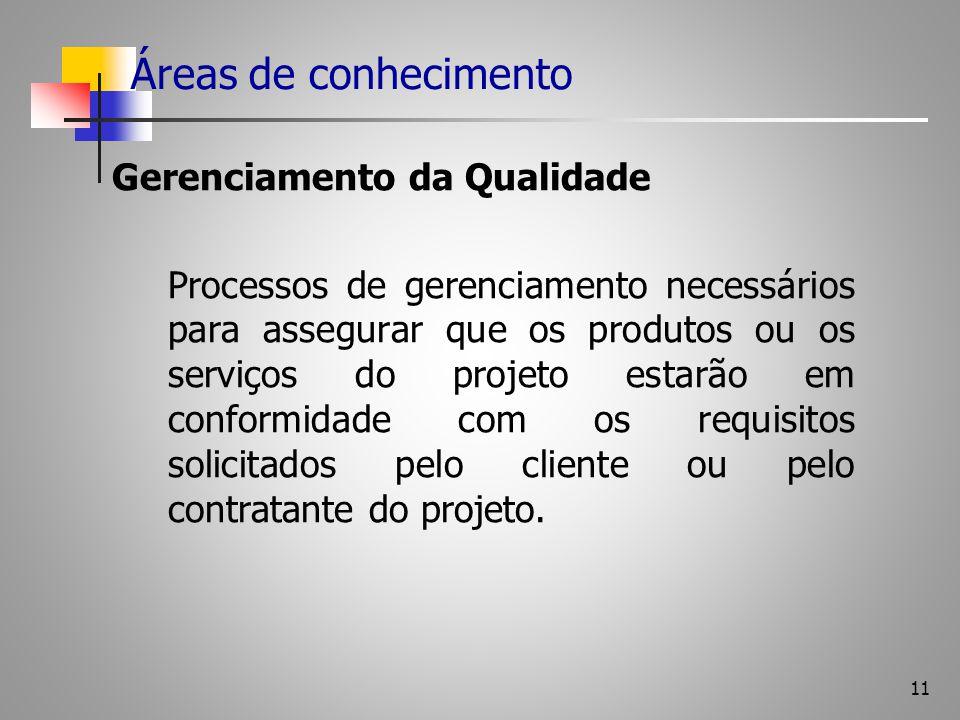 11 Áreas de conhecimento Gerenciamento da Qualidade Processos de gerenciamento necessários para assegurar que os produtos ou os serviços do projeto es
