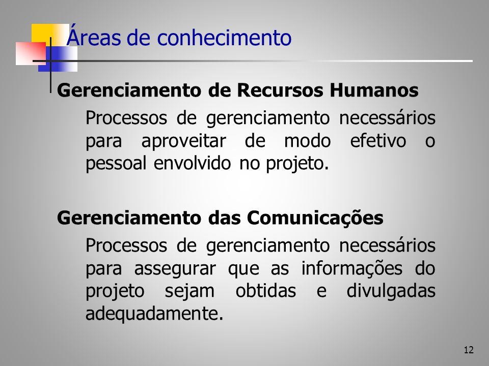 12 Áreas de conhecimento Gerenciamento de Recursos Humanos Processos de gerenciamento necessários para aproveitar de modo efetivo o pessoal envolvido