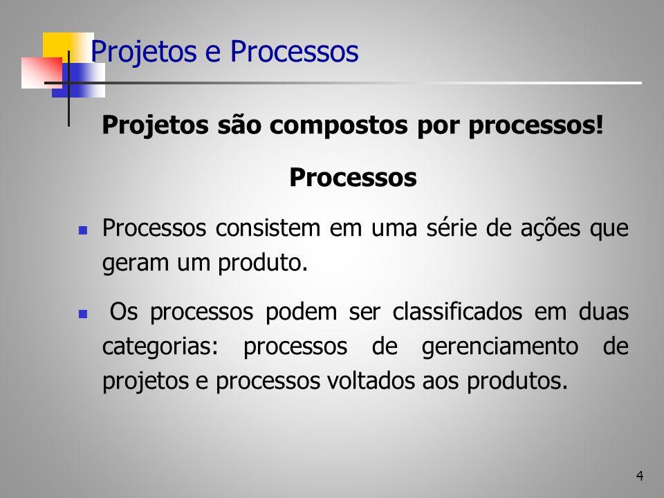 4 Projetos e Processos Projetos são compostos por processos! Processos Processos consistem em uma série de ações que geram um produto. Os processos po