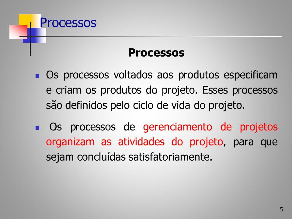 5 Processos Os processos voltados aos produtos especificam e criam os produtos do projeto. Esses processos são definidos pelo ciclo de vida do projeto