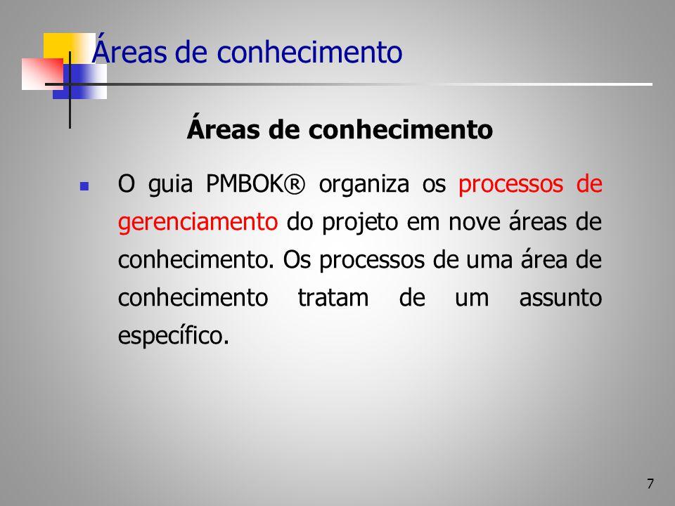 7 Áreas de conhecimento O guia PMBOK® organiza os processos de gerenciamento do projeto em nove áreas de conhecimento. Os processos de uma área de con