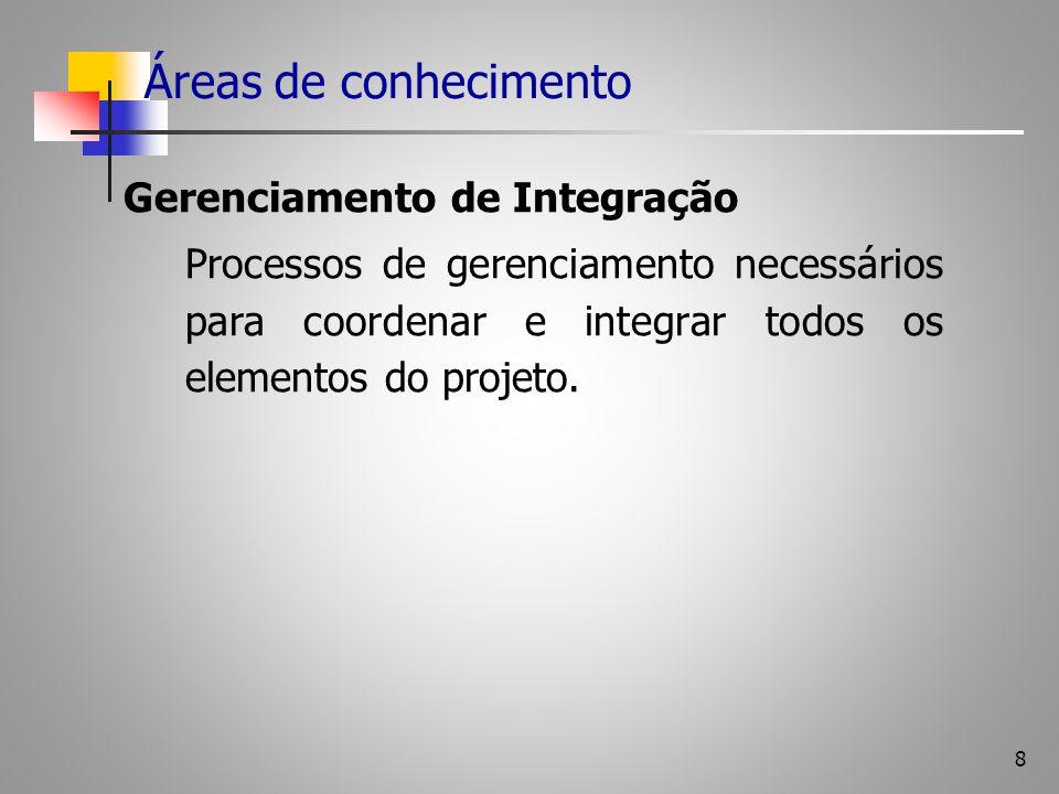 8 Áreas de conhecimento Gerenciamento de Integração Processos de gerenciamento necessários para coordenar e integrar todos os elementos do projeto.