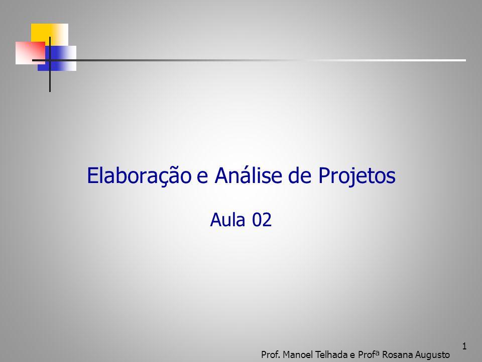Elaboração e Análise de Projetos Aula 02 1 Prof. Manoel Telhada e Profª Rosana Augusto