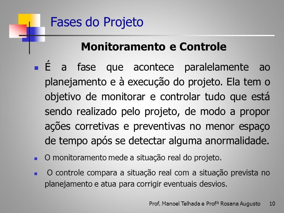 10 Fases do Projeto Monitoramento e Controle É a fase que acontece paralelamente ao planejamento e à execução do projeto. Ela tem o objetivo de monito