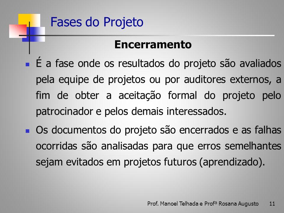 11 Fases do Projeto Encerramento É a fase onde os resultados do projeto são avaliados pela equipe de projetos ou por auditores externos, a fim de obte