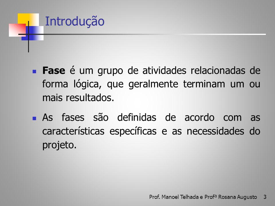 3 Introdução Fase é um grupo de atividades relacionadas de forma lógica, que geralmente terminam um ou mais resultados. As fases são definidas de acor
