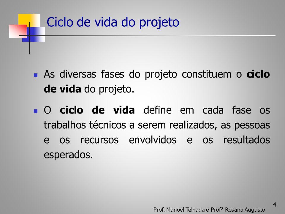 4 Ciclo de vida do projeto As diversas fases do projeto constituem o ciclo de vida do projeto. O ciclo de vida define em cada fase os trabalhos técnic