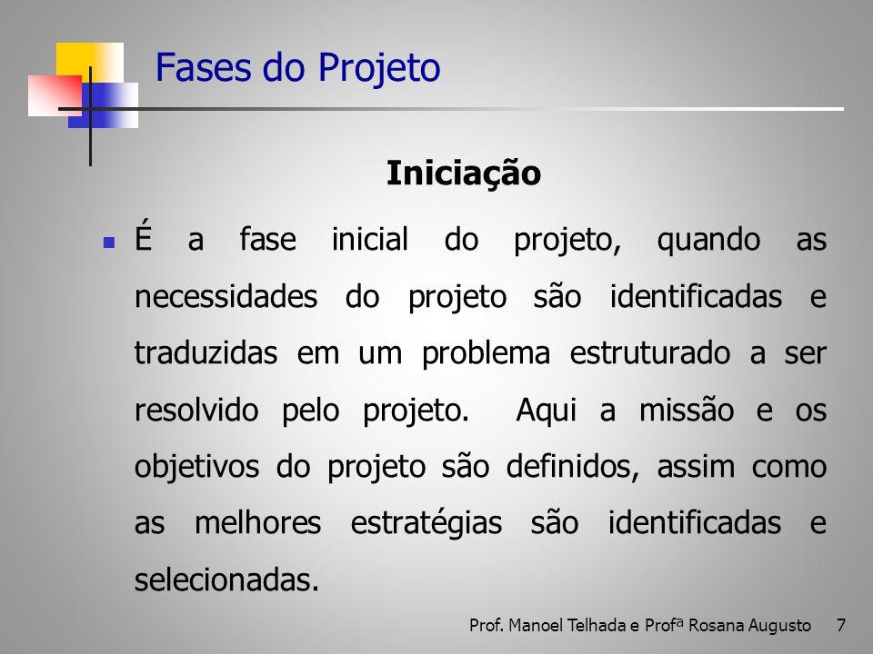 7 Fases do Projeto Iniciação É a fase inicial do projeto, quando as necessidades do projeto são identificadas e traduzidas em um problema estruturado