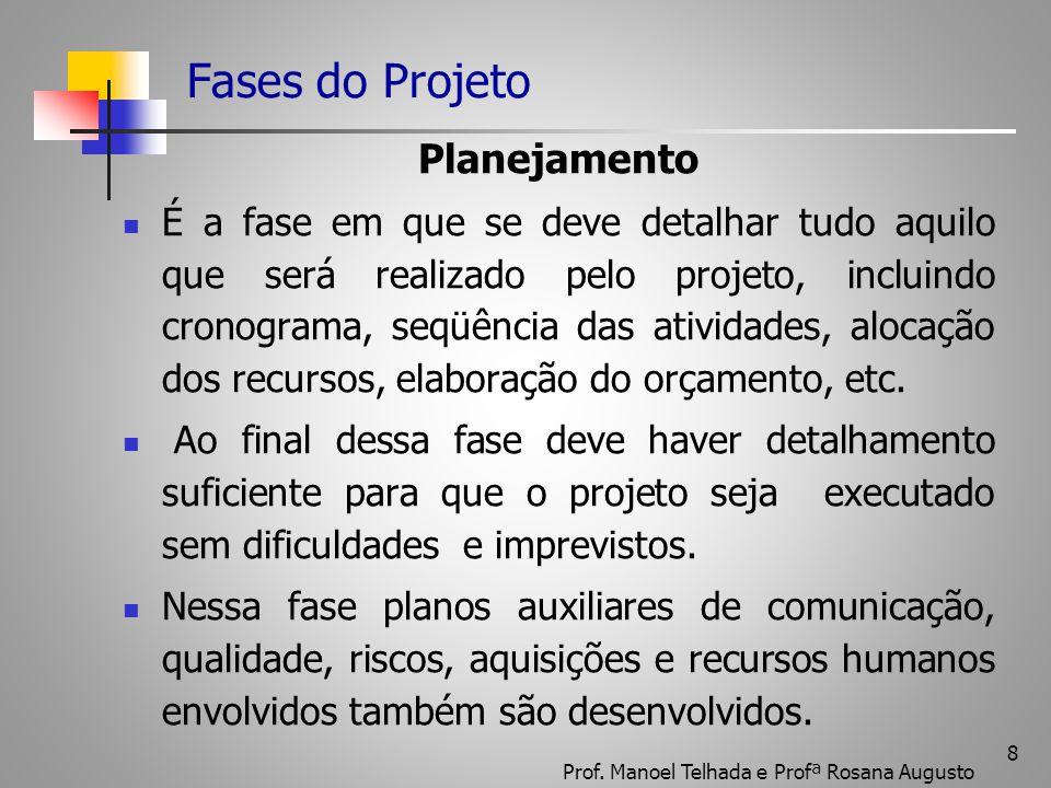 8 Fases do Projeto Planejamento É a fase em que se deve detalhar tudo aquilo que será realizado pelo projeto, incluindo cronograma, seqüência das ativ