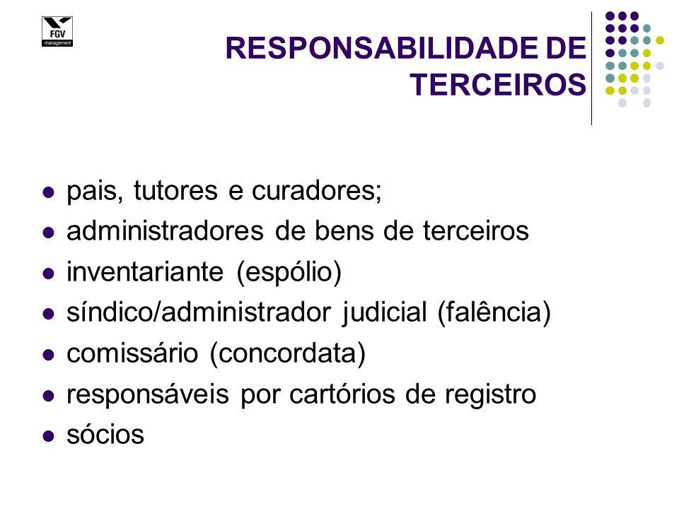 RESPONSABILIDADE DE TERCEIROS pais, tutores e curadores; administradores de bens de terceiros inventariante (espólio) síndico/administrador judicial (falência) comissário (concordata) responsáveis por cartórios de registro sócios