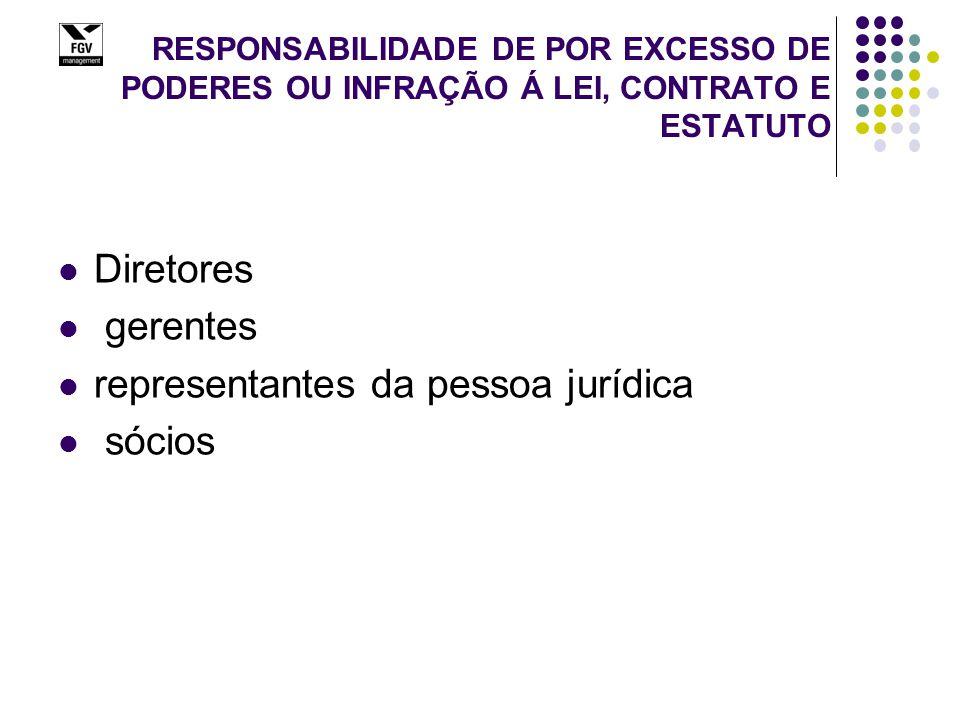 RESPONSABILIDADE DE POR EXCESSO DE PODERES OU INFRAÇÃO Á LEI, CONTRATO E ESTATUTO Diretores gerentes representantes da pessoa jurídica sócios