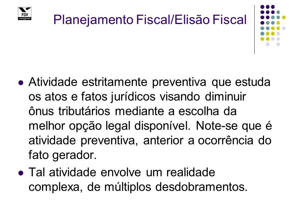 Planejamento Fiscal/Elisão Fiscal Atividade estritamente preventiva que estuda os atos e fatos jurídicos visando diminuir ônus tributários mediante a escolha da melhor opção legal disponível.