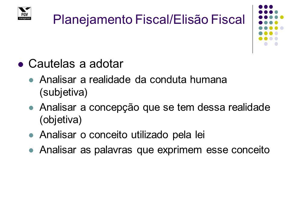Planejamento Fiscal/Elisão Fiscal Cautelas a adotar Analisar a realidade da conduta humana (subjetiva) Analisar a concepção que se tem dessa realidade