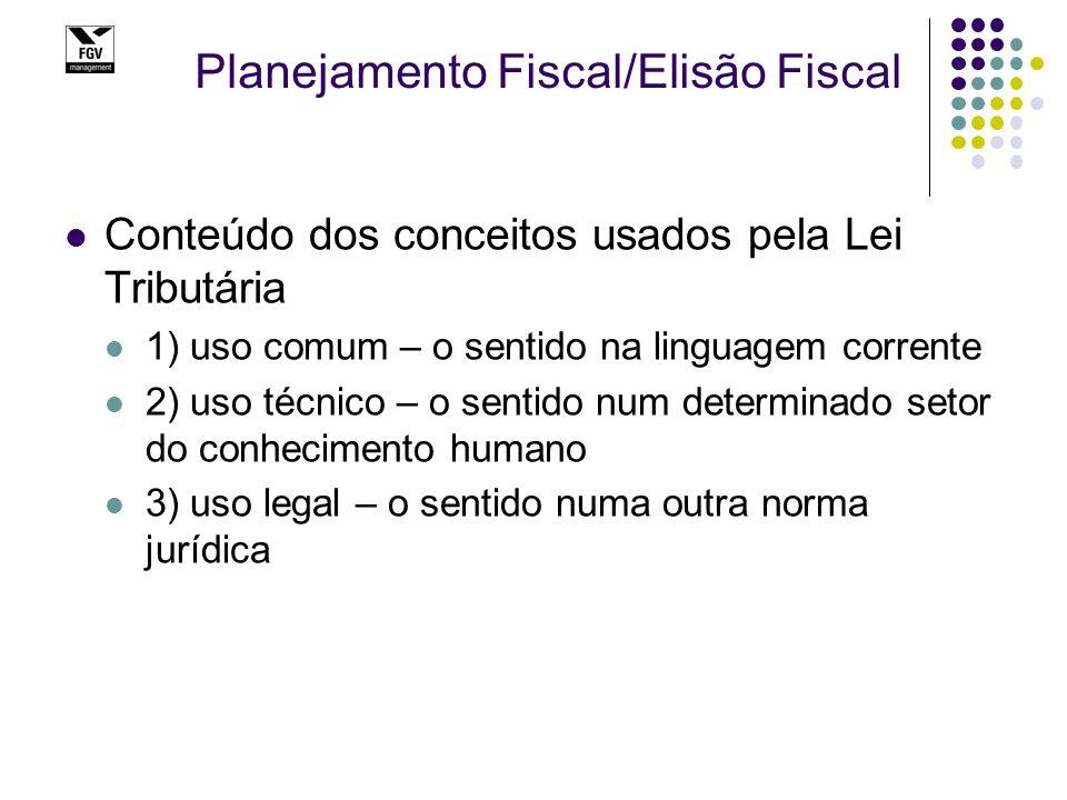Planejamento Fiscal/Elisão Fiscal Conteúdo dos conceitos usados pela Lei Tributária 1) uso comum – o sentido na linguagem corrente 2) uso técnico – o