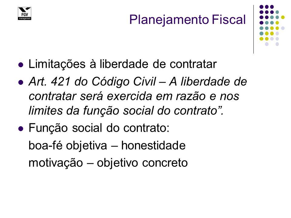 Planejamento Fiscal Limitações à liberdade de contratar Art. 421 do Código Civil – A liberdade de contratar será exercida em razão e nos limites da fu