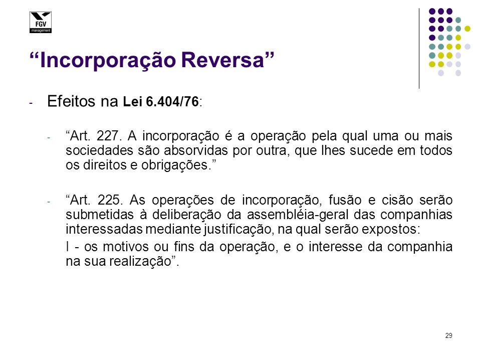 """29 """"Incorporação Reversa"""" - Efeitos na Lei 6.404/76: - """"Art. 227. A incorporação é a operação pela qual uma ou mais sociedades são absorvidas por outr"""