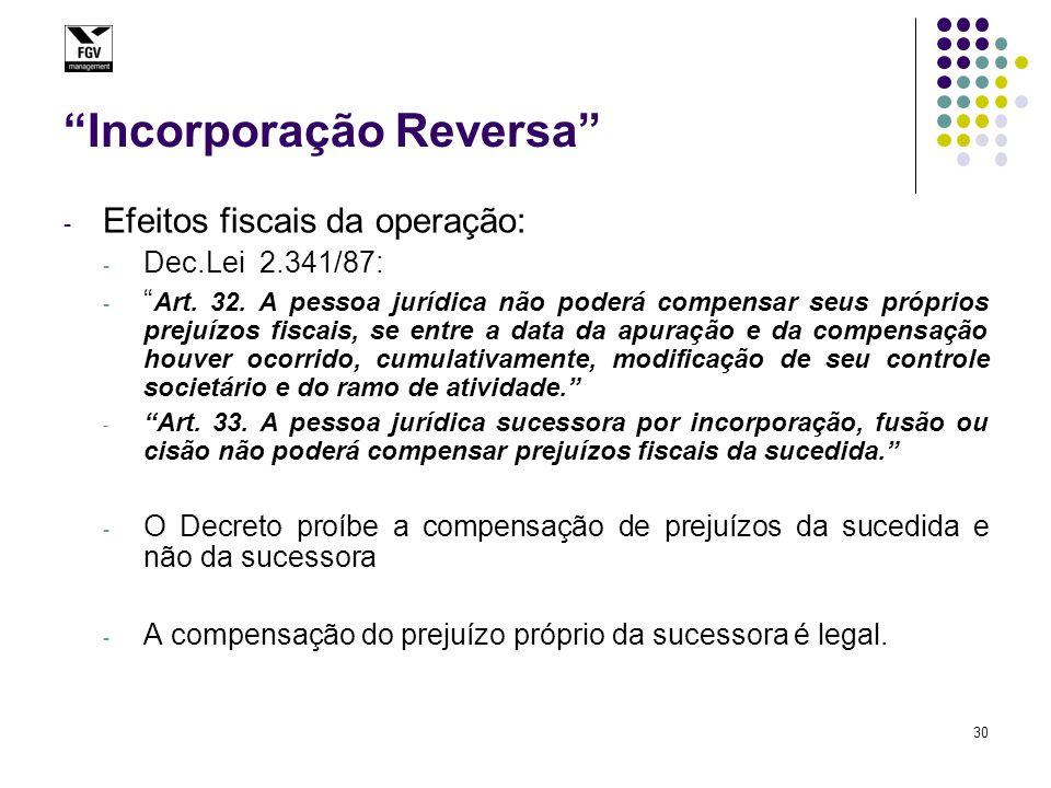 """30 """"Incorporação Reversa"""" - Efeitos fiscais da operação: - Dec.Lei 2.341/87: - """" Art. 32. A pessoa jurídica não poderá compensar seus próprios prejuíz"""