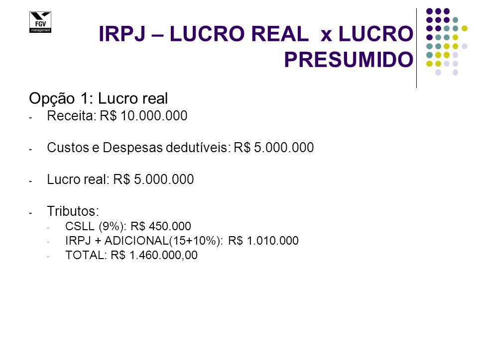 IRPJ – LUCRO REAL x LUCRO PRESUMIDO Opção 1: Lucro real - Receita: R$ 10.000.000 - Custos e Despesas dedutíveis: R$ 5.000.000 - Lucro real: R$ 5.000.000 - Tributos: - CSLL (9%): R$ 450.000 - IRPJ + ADICIONAL(15+10%): R$ 1.010.000 - TOTAL: R$ 1.460.000,00