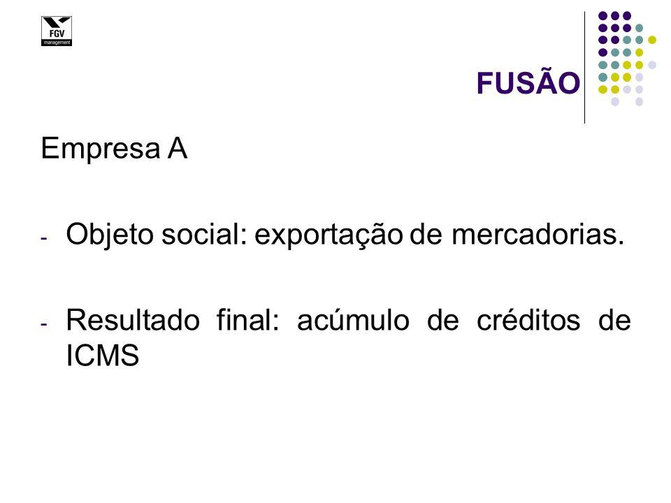 FUSÃO Empresa A - Objeto social: exportação de mercadorias. - Resultado final: acúmulo de créditos de ICMS