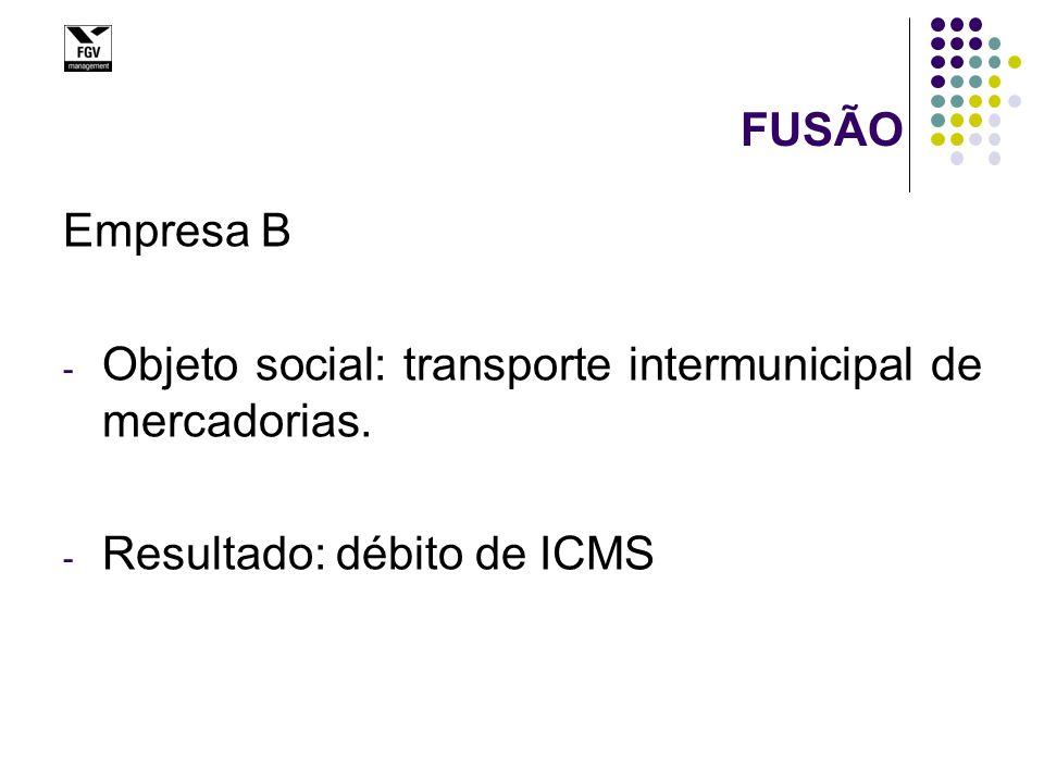 FUSÃO Empresa B - Objeto social: transporte intermunicipal de mercadorias. - Resultado: débito de ICMS