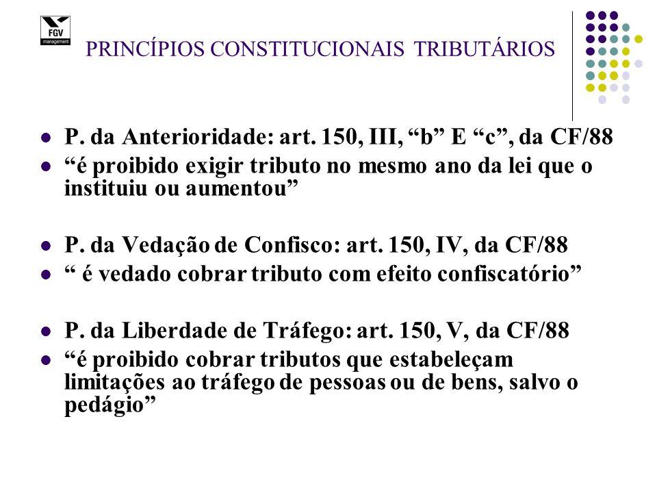 "PRINCÍPIOS CONSTITUCIONAIS TRIBUTÁRIOS P. da Anterioridade: art. 150, III, ""b"" E ""c"", da CF/88 ""é proibido exigir tributo no mesmo ano da lei que o in"
