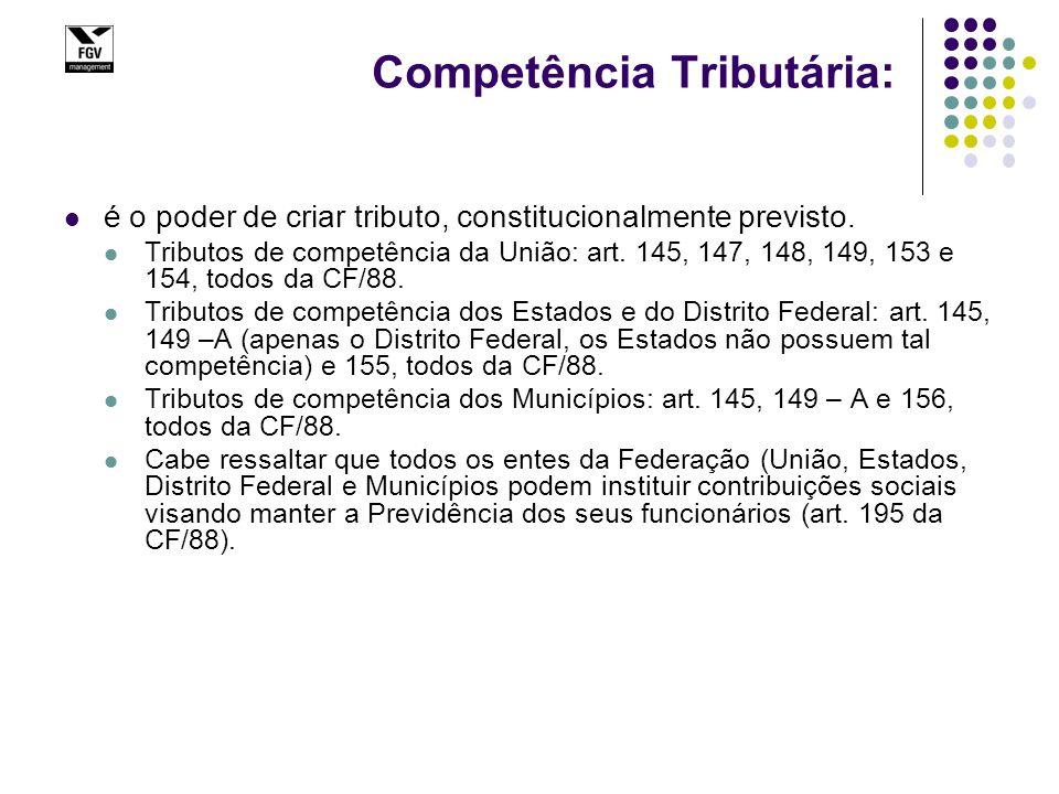 Competência Tributária: é o poder de criar tributo, constitucionalmente previsto. Tributos de competência da União: art. 145, 147, 148, 149, 153 e 154