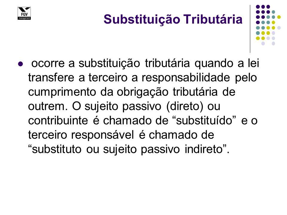 Substituição Tributária ocorre a substituição tributária quando a lei transfere a terceiro a responsabilidade pelo cumprimento da obrigação tributária de outrem.