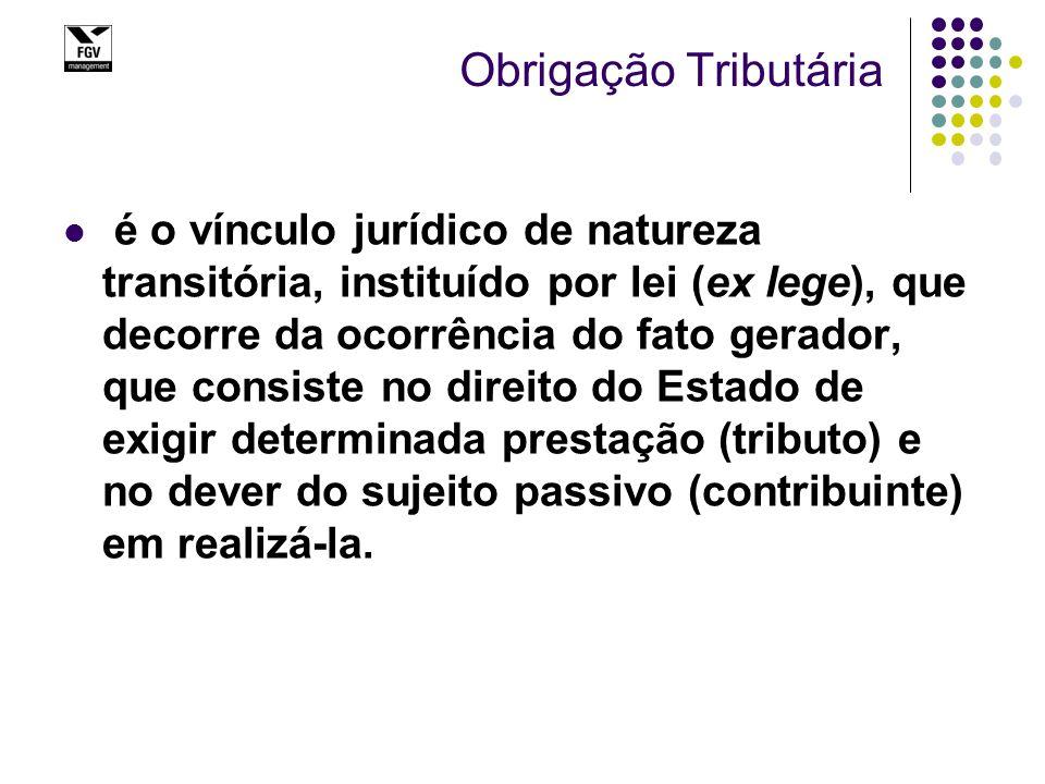Obrigação Tributária é o vínculo jurídico de natureza transitória, instituído por lei (ex lege), que decorre da ocorrência do fato gerador, que consis