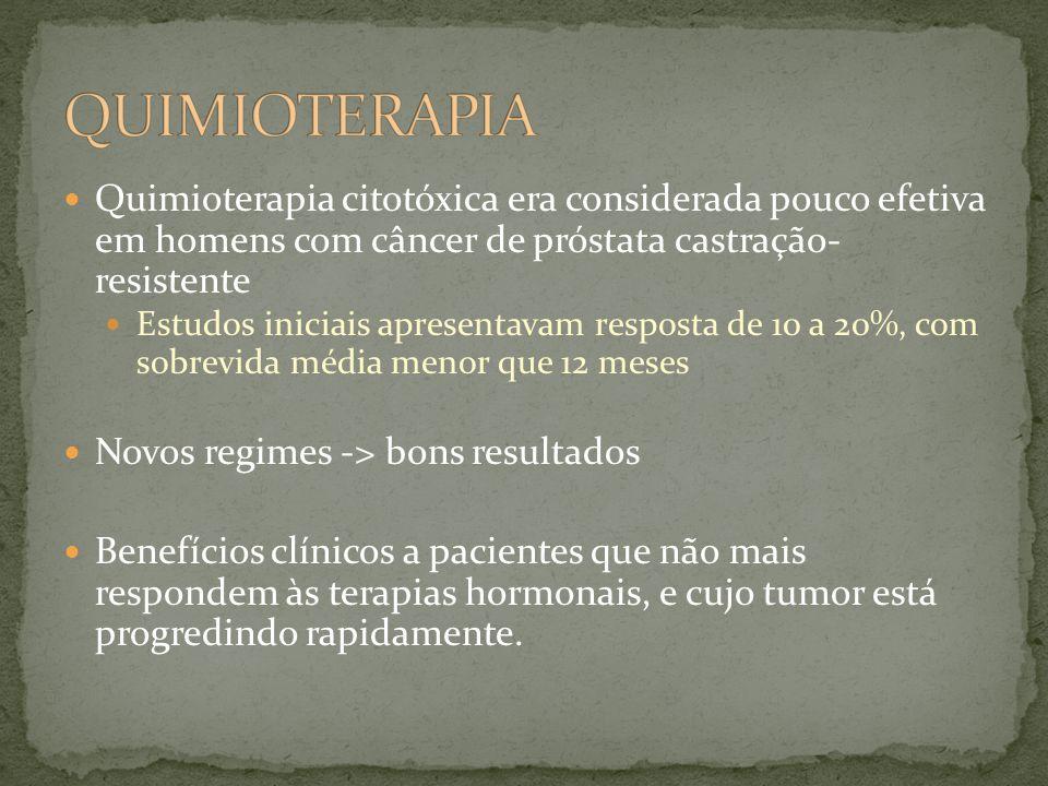 Quimioterapia citotóxica era considerada pouco efetiva em homens com câncer de próstata castração- resistente Estudos iniciais apresentavam resposta de 10 a 20%, com sobrevida média menor que 12 meses Novos regimes -> bons resultados Benefícios clínicos a pacientes que não mais respondem às terapias hormonais, e cujo tumor está progredindo rapidamente.