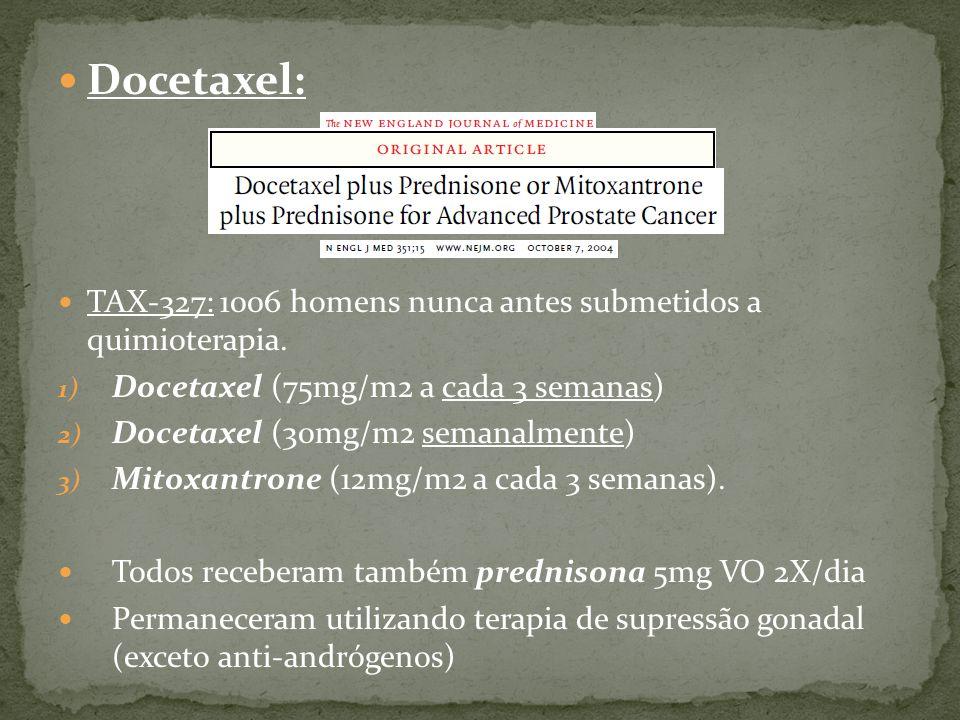 Docetaxel: TAX-327: 1006 homens nunca antes submetidos a quimioterapia.