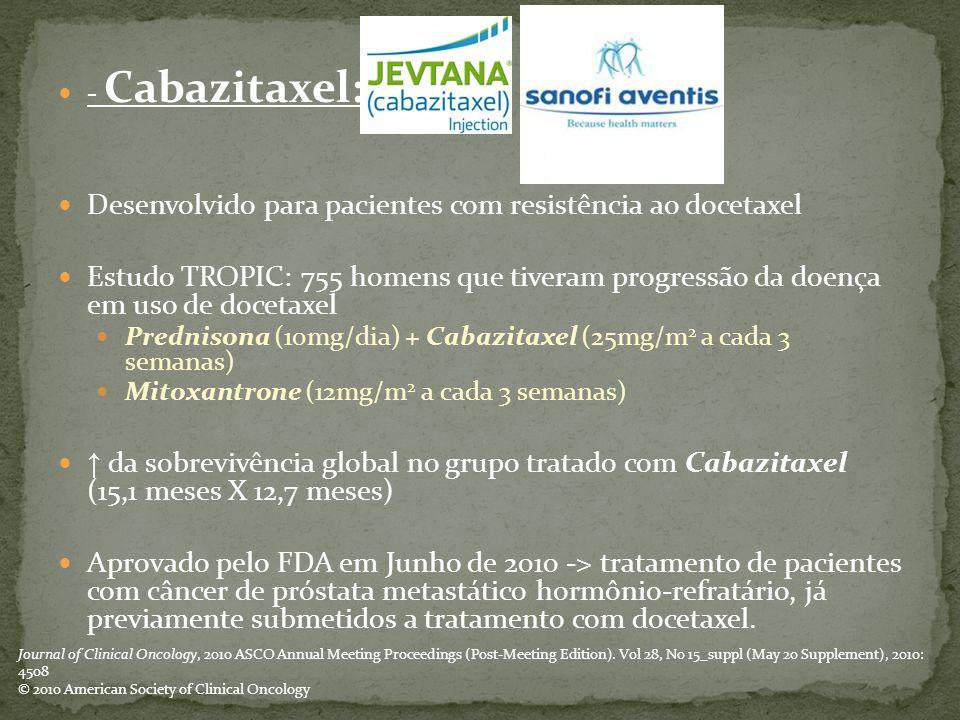 - Cabazitaxel: Desenvolvido para pacientes com resistência ao docetaxel Estudo TROPIC: 755 homens que tiveram progressão da doença em uso de docetaxel Prednisona (10mg/dia) + Cabazitaxel (25mg/m 2 a cada 3 semanas) Mitoxantrone (12mg/m 2 a cada 3 semanas) ↑ da sobrevivência global no grupo tratado com Cabazitaxel (15,1 meses X 12,7 meses) Aprovado pelo FDA em Junho de 2010 -> tratamento de pacientes com câncer de próstata metastático hormônio-refratário, já previamente submetidos a tratamento com docetaxel.
