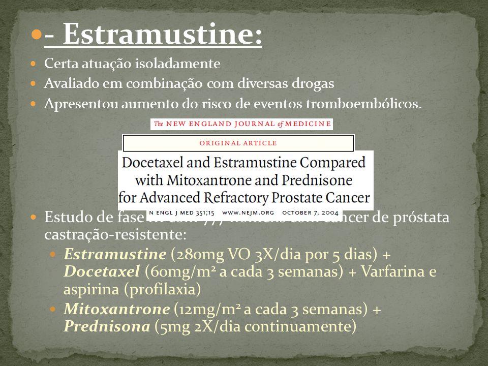 - Estramustine: Certa atuação isoladamente Avaliado em combinação com diversas drogas Apresentou aumento do risco de eventos tromboembólicos.