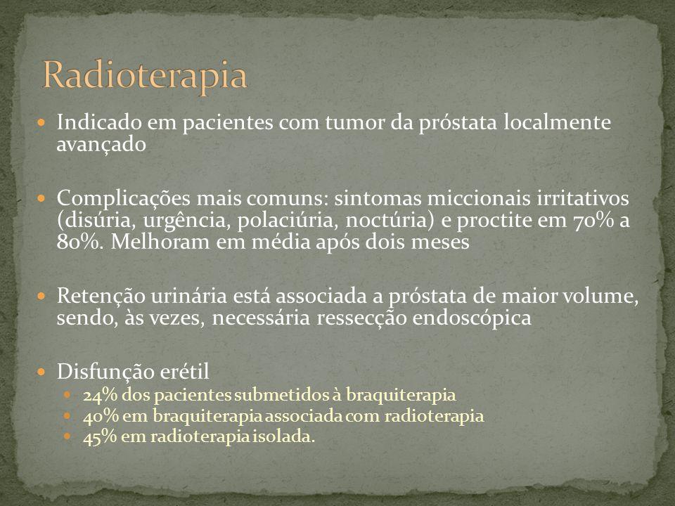 Indicado em pacientes com tumor da próstata localmente avançado Complicações mais comuns: sintomas miccionais irritativos (disúria, urgência, polaciúria, noctúria) e proctite em 70% a 80%.