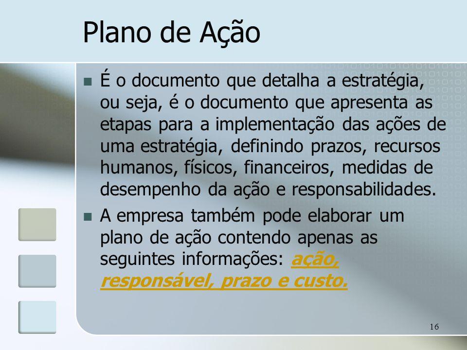 16 Plano de Ação É o documento que detalha a estratégia, ou seja, é o documento que apresenta as etapas para a implementação das ações de uma estratég