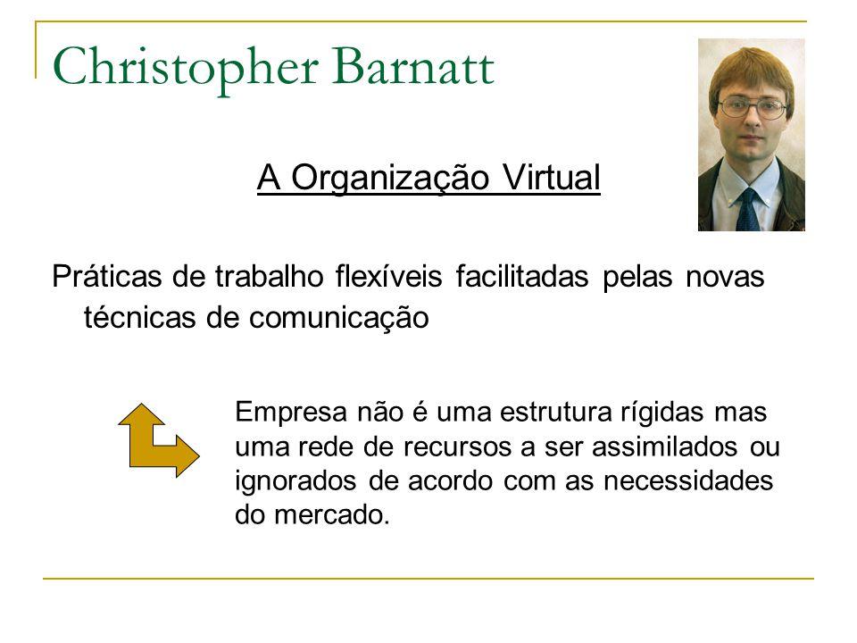 Christopher Barnatt A Organização Virtual Práticas de trabalho flexíveis facilitadas pelas novas técnicas de comunicação Empresa não é uma estrutura r