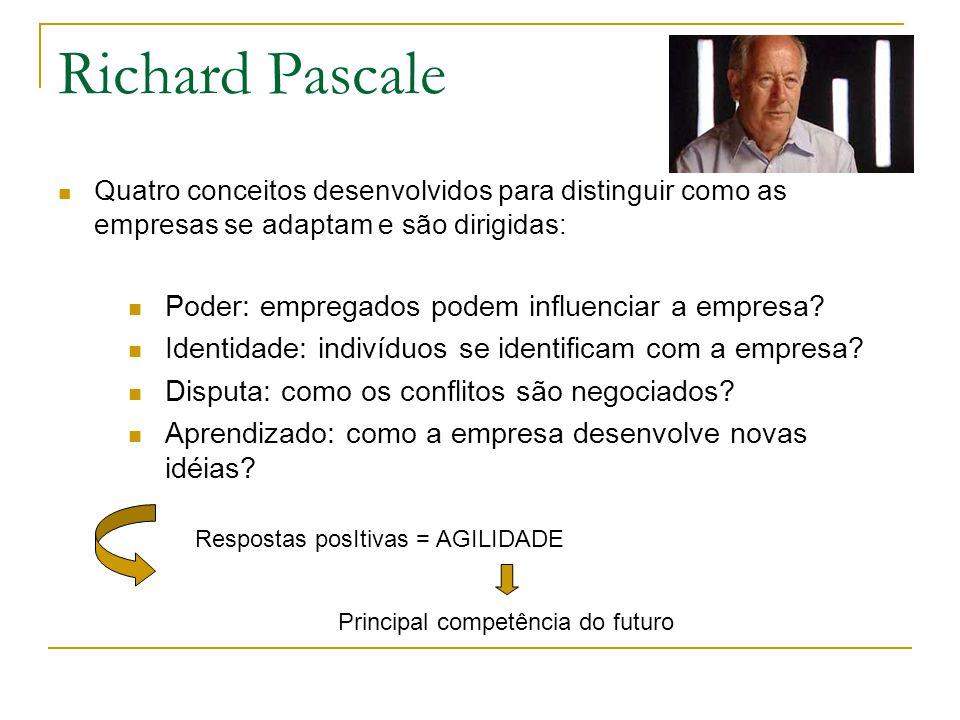 Richard Pascale Quatro conceitos desenvolvidos para distinguir como as empresas se adaptam e são dirigidas: Poder: empregados podem influenciar a empr