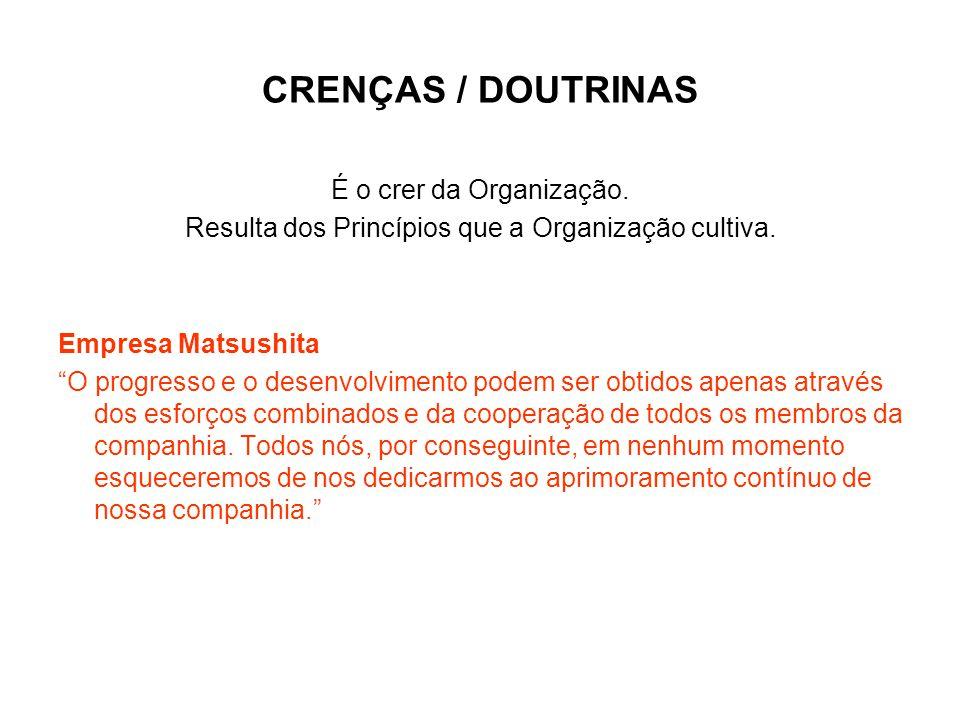 """CRENÇAS / DOUTRINAS É o crer da Organização. Resulta dos Princípios que a Organização cultiva. Empresa Matsushita """"O progresso e o desenvolvimento pod"""
