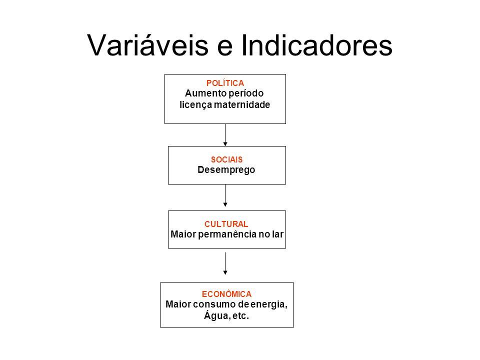 Variáveis e Indicadores SOCIAIS Desemprego CULTURAL Maior permanência no lar ECONÔMICA Maior consumo de energia, Água, etc.