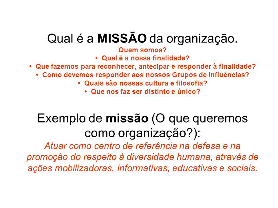 Qual é a MISSÃO da organização. Quem somos? Qual é a nossa finalidade? Que fazemos para reconhecer, antecipar e responder à finalidade? Como devemos r